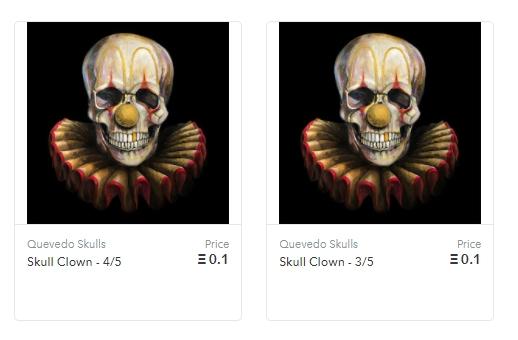 Quevedo Skulls, NFTs animados de Fernando Quevedo. Fonte: OpenSea