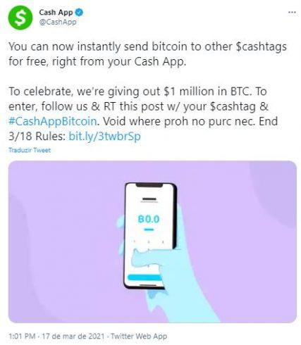 Usuários poderão enviar BTC de graça. Fonte: Cash App/Twitter