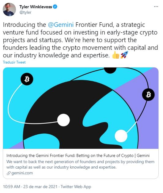 Tyler Winklevoss anunciou novo fundo de risco da Gemini. Fonte: Tyler Winklevoss/Twitter