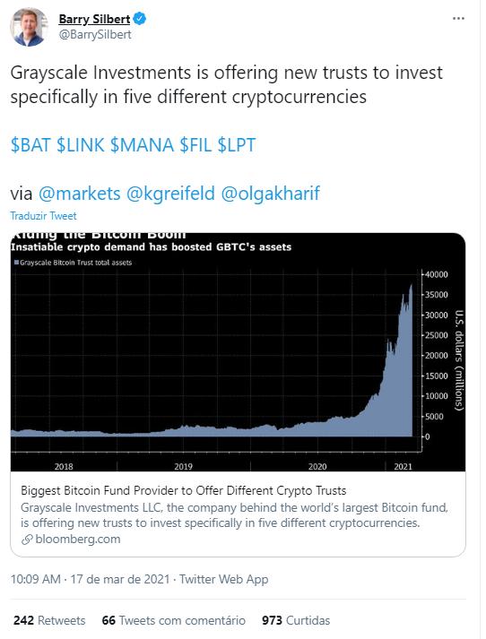 Barry Silbert anuncia novos fundos de investimento. Fonte: Barry Silbert/Twitter