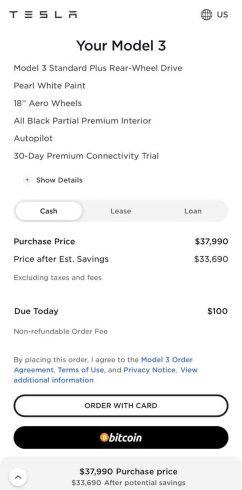 Layout da área de pagamento da Tesla com opção de Bitcoin. fonte: site oficial.