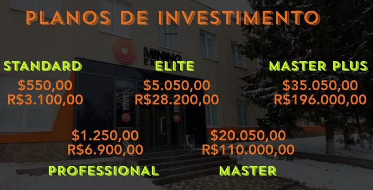 Tabela de investimentos. Fonte: Mining Express