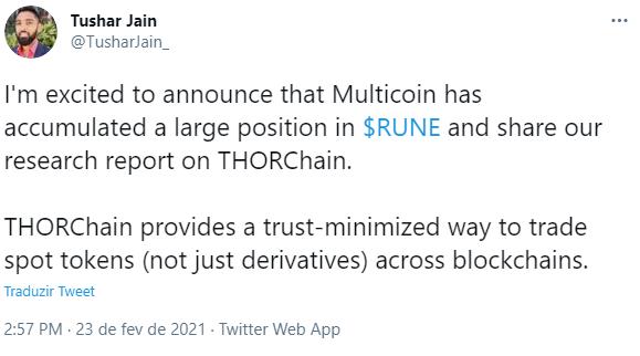 Sócio-gestor da Multicoin relata crescimento da empresa. Fonte: Tushar Jain/Twitter