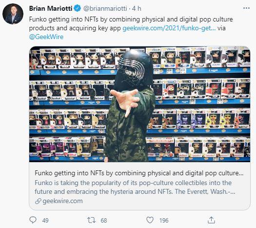 Brian Miriotti divulga no seu Twitter o ingresso da Funko no mercado de NFTs. Fonte: Brian Miriotti/Twitter