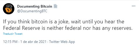 Fonte: Documenting Bitcoin/Twitter