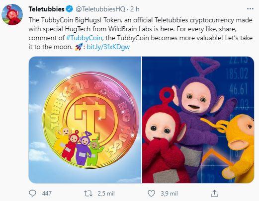 "Teletubbies ""cria"" criptomoeda no Dia da Mentira. Fonte: Teletubbies/Twitter"