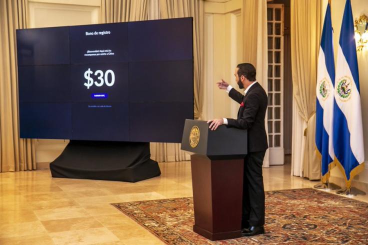 Presidente revela bônus para estimular adoção do BTC. Fonte: apresentação oficial.