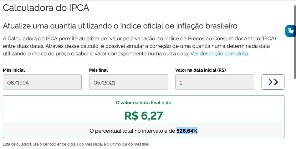 Calculadora do IPCA
