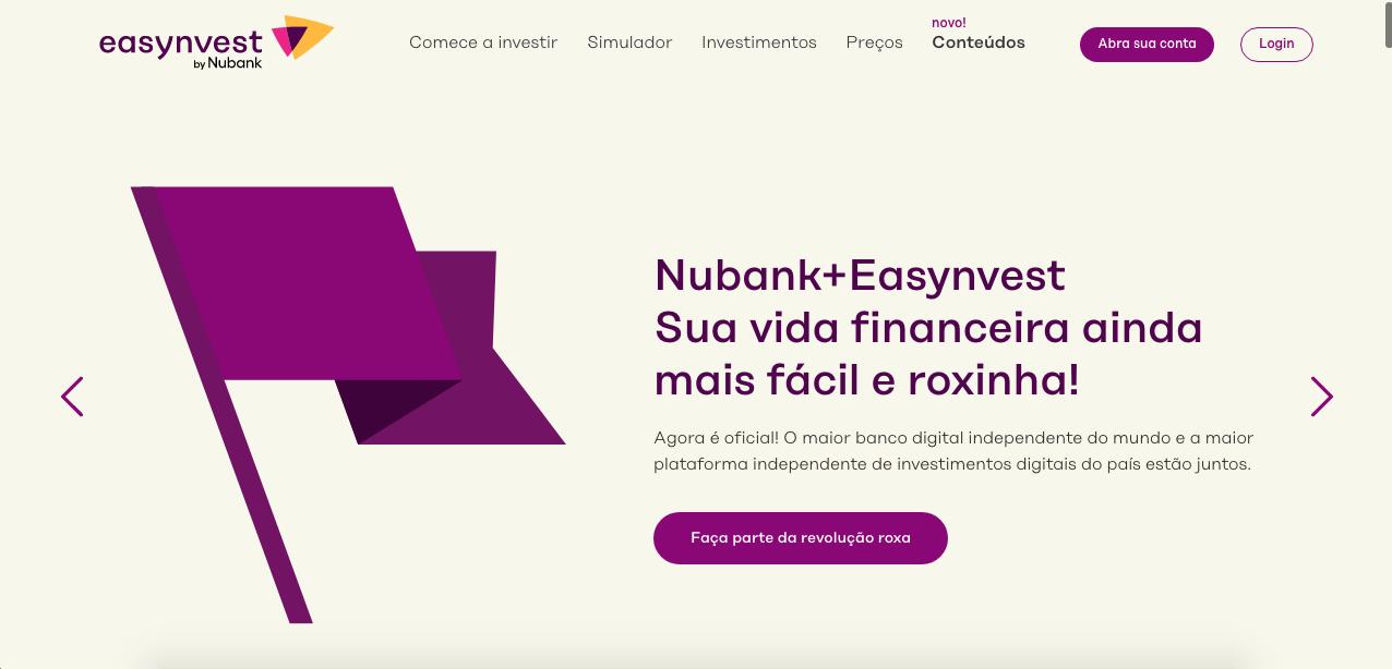 Corretora mudou seu nome após compra do Nubank. Fonte: Easynvest.