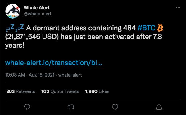 Transação de 484 BTC revelada nesta quarta-feira. Fonte: Whale Alert/Twitter.