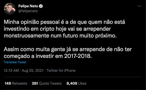 Fonte: Felipe Neto/Twitter.