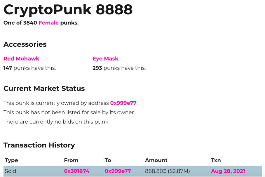 Número do CryptoPunk com valor da transação. Fonte: Larva Labs.