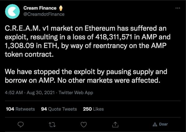Cream anuncia ataque em seu protocolo. Fonte: Cream Finance/Twitter.