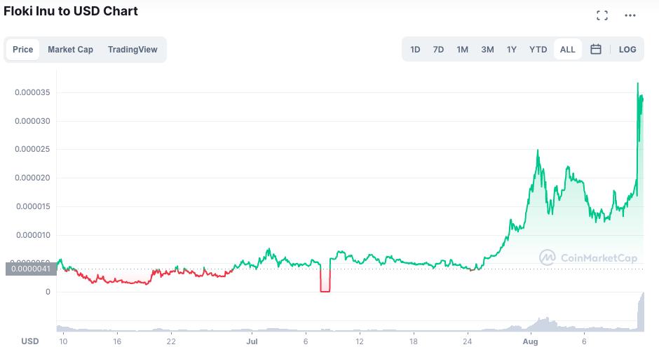 Valorização da FLOKI desde seu lançamento. Fonte: CoinMarketCap.
