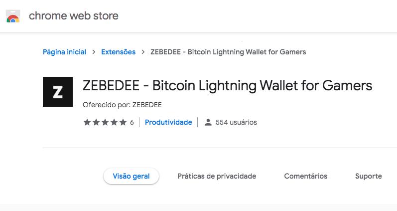 Extensão do Zebedee no Chrome/Brave.