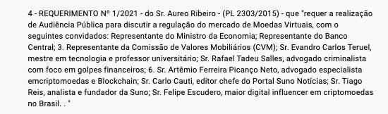 Lista de convocados para audiências sobre PL das criptomoedas. Fonte: Câmara Federal.
