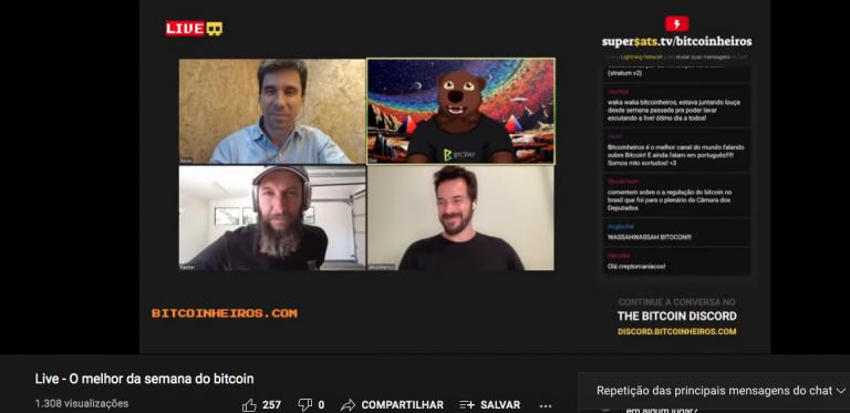 Live do Bitcoinheiros com o bate-papo do Supersats ativado.