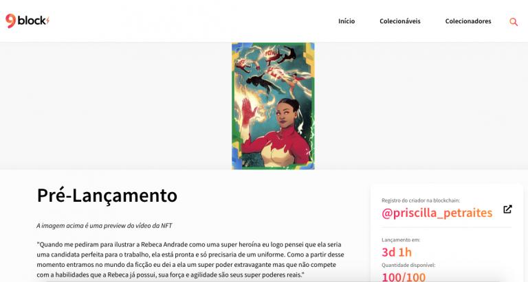 Página de pré-lançamento mostra NFT da ginasta Rebeca Andrade. Fonte: 9Block.