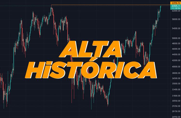 Bitcoin chega perto do ATH e volta a cair. Primeiro dia de vendas da nova ETF é de alta