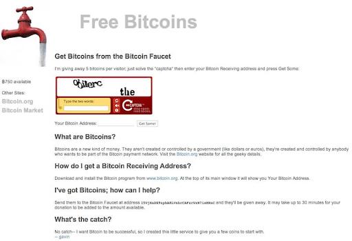 """Foto mostra como era possível ganhar 5 bitcoins de forma totalmente gratuita apenas clicando em um botão de """"captcha"""". Imagem: Reprodução"""