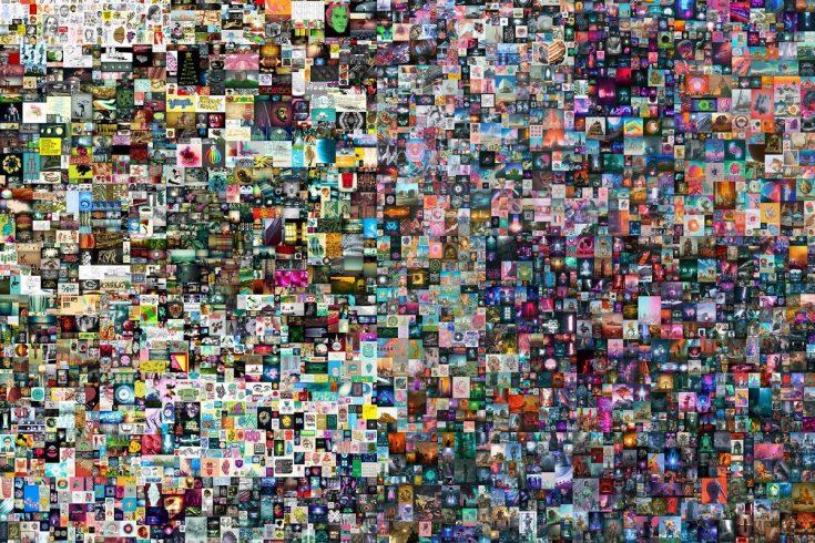 Foto mostra obra de arte desenvolvida ao longo de 5 mil dias por meio de colagens pelo artista Beeple. Imagem: Reprodução Christie's