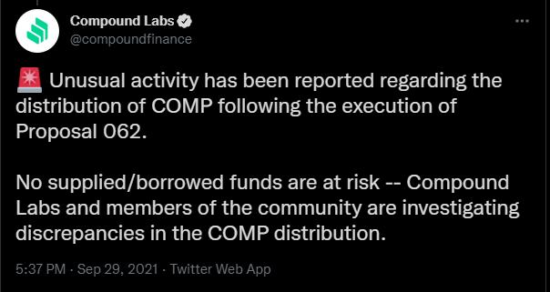 Mensagem da Compound alerta sobre falha.